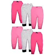 Luvable Friends Girls 6 Pack Tapered Ankle Pants, Girl Black Stripe, 0-3 Months
