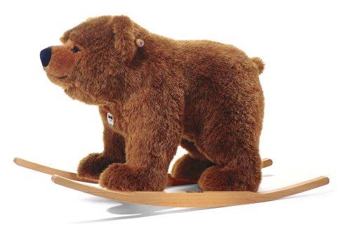 Steiff Urs Riding Bear Stuffed Rocker - Premium Soft Woven Plush Animal Ride-On with Wooden Base and Handles - for Kids Ages 4 and Up