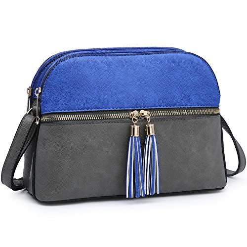 Functional Multi Pockets Lightweight Medium Crossbody Bags Purses for Women Double Zipper Shoulder Messenger Bag with Tassel (Royal Blue/Grey)