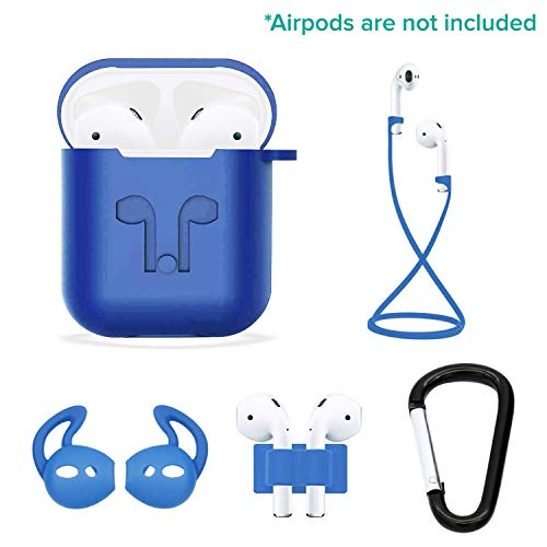 Casism AirPods Case 5 in 1 Airpods Accessories Kits Protective Silicone Case and Cover for Charging Case with Airpods Strap/Airpods Ear Hooks/Anti-Lost Carabiner/Airpods Watch Band Holder (Blue)