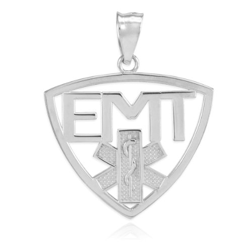 American Heroes High Polish Sterling Silver Medic Star of Life Cut-out Charm EMT Pendant
