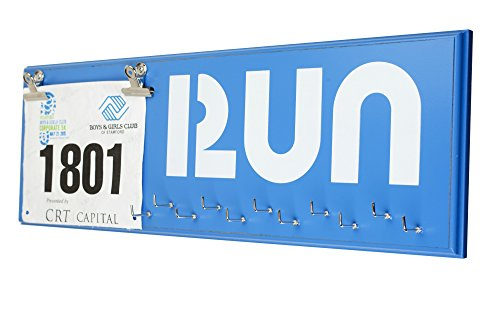 Running Medal Display Rack and Bib Holder, Beautiful Handcrafted Wood Sign, Wall Mounted, 22