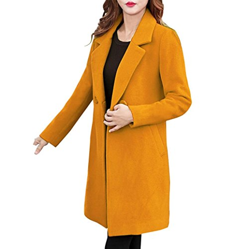 Forthery Women's Trench Coat Winter Long Jacket Double Breasted Overcoat (Tag L= US M, Yellow)