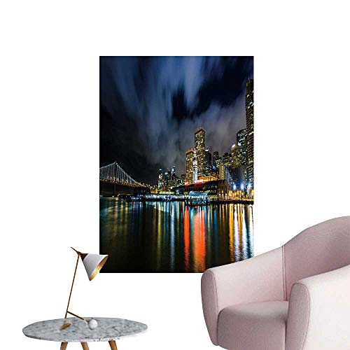 SeptSonne Vinyl Wall Stickers Ferry buil Bay Bridge at Night Perfectly Decorated,32