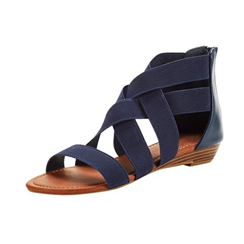 Roman Sandals Halloween - Women Shoes, LIM&Shop  Gladiator Sandals Elastic Strap Criss Cross Low Heeled Flats Beach Slippers Soft Roman Sandals Blue