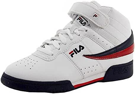 Fila Boy's F-13 White/Navy/Red Mid-Top Basketball Sneakers Shoes