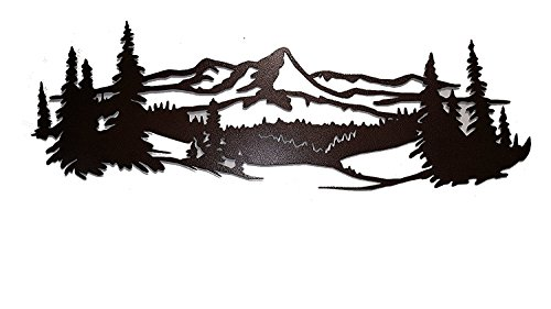 Pine Wall Sculpture - Say It All On The Wall Mountain Scene with Pine Trees Metal Wall Accent