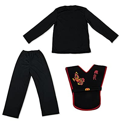 Deluxe Ninja Halloween Costume Set for Kids with Warrior Suit & 6 Props Black: Clothing