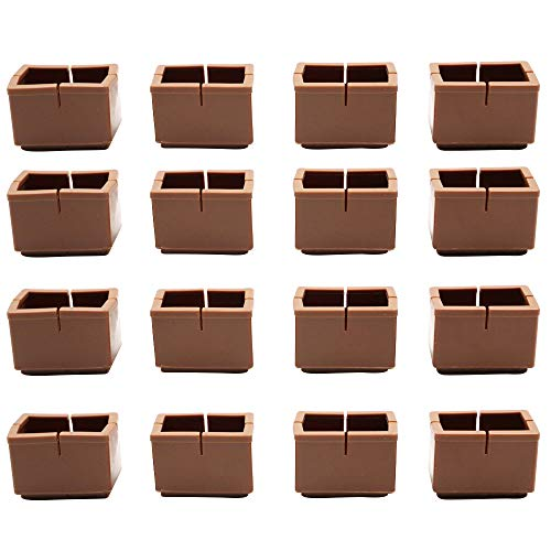 Silicone Chair Leg Floor Protectors, Furniture Table Feet Covers with Felt Pads, Chair Glides Feet Caps Tips (Rectangle-Brown)