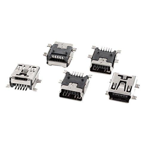 uxcell 5 Pcs Mini USB Type B Female Port 5-Pin 180 Degree SMD SMT PCB Jack - Pin Socket Jack