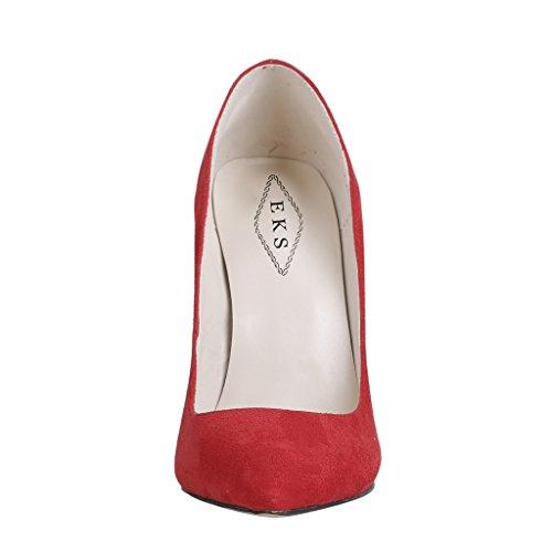 EKS - Merceditas de tacón alto Mujer Rojo - Rot-Suede