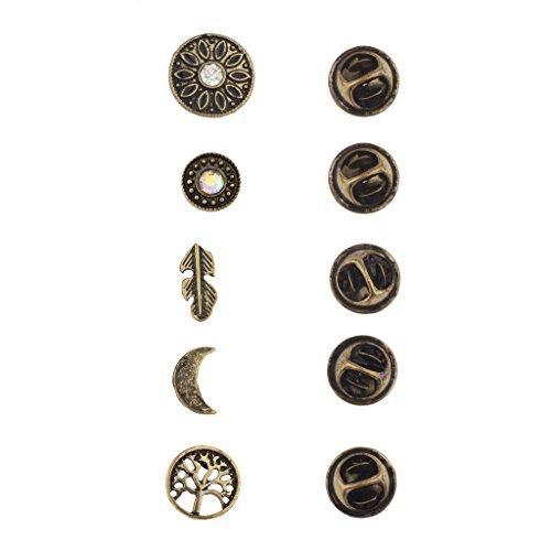 Lux Accessories Burnish Gold Boho Burnish Finish Novelty Pin Brooch Set (5PCS)