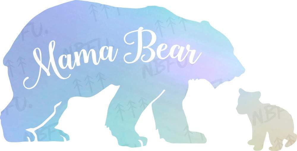 NBFU Decals Mama Baby Bear Love Wildlife 1 (Hologram) (Set of 2) Premium Waterproof Vinyl Decal Stickers for Laptop Phone Accessory Helmet Car Window Bumper Mug Tuber Cup Door Wall Decoration