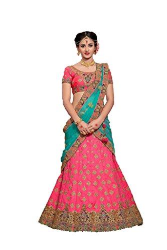 EthnicWear Indian Diwali Special Beautiful Pink Color Art Silk Embroidery Resham Cut Work Lehenga Choli Chaniya Choli by Ethnicwear