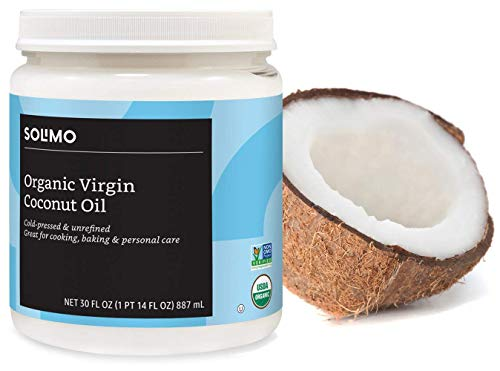 Amazon Brand - Solimo Organic Virgin Coconut Oil, Unrefined, Non-GMO, 30 Fl Oz