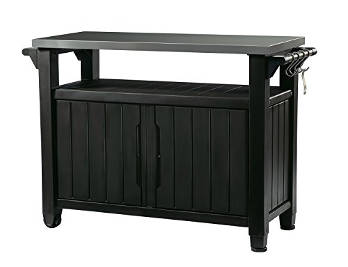Keter Unity XL Indoor Outdoor Entertainment BBQ Storage Table/Prep Station/Serving Cart with Metal Top, Graphite (Patio Grill Designs)