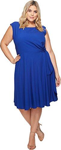Tahari ASL Women's Plus Size Sleeveless Stretch Crepe Side Tie Shift Cobalt 14 (Asl Crepe Dress)