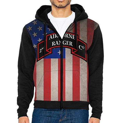 (NVTYGH HOODIE 2 Airborne Ranger Battalion Shoulder Sleeve Insignia Full Zip Sweatshirt Drawstring Hoodies with Pockets)