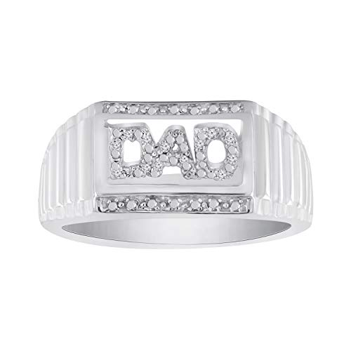 (Trillion Jewels 0.03CT Natural Diamond 14K White Gold Fn Mens Dad's Ring (12) )