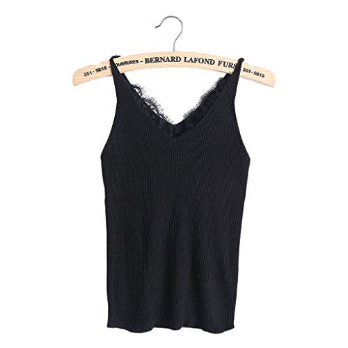 Hoiert Sexy Women Plain Camisole Lace Splicing Double V-Neck Vest Slim Sling Tank Tops ()