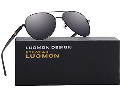 LUOMON MB209 Black Frame/Grey Lens Polarized Aviator Sunglasses