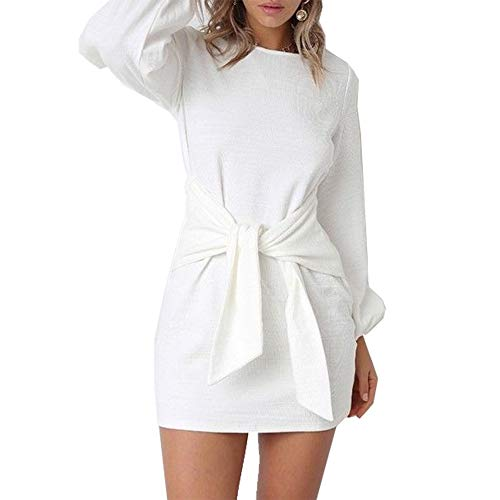 MissyLife Women's Casual Crew Neck Tie Knot Front Puff Long Sleeve Knitted Mini Dresses White,S