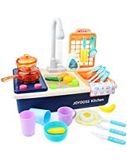 Joyooss Kids Kitchen Playsets, Play Kitchen Sink Toy with Functional Faucet & Automatic Water System, Water Toys Toddler Toys for Kids-Blue