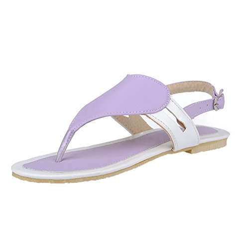 Low AalarDom Womens Solid PU Purple Heels Sandals Split Toe qw4wTt