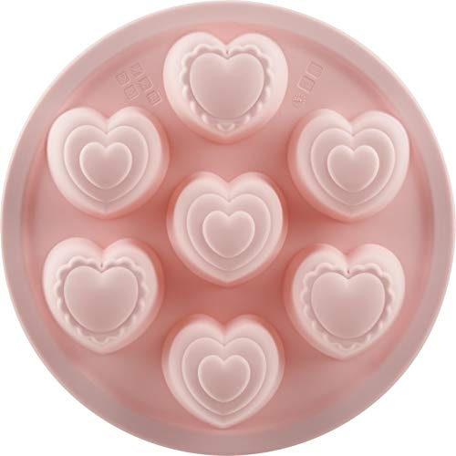 Trudeau 05118601 9'' Structure Round Cake Heart 6 Ct Muffin Pan, 9', pink