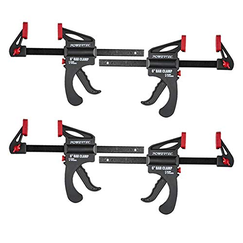 POWERTEC 71088P4 6 in. Quick Release Bar Clamp with 12 inch Spreader | Ratcheting Bar Clamp - 4PK