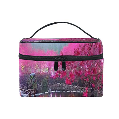 (Makeup Bag Japanese Cherry Blossoms Cosmetic Bag Portable Large Toiletry Bag for Women/Girls Travel)