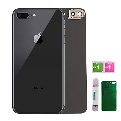 (Replacement Back Glass Cover Back Battery Door Installed Camera Frame Lens Replacement for iPhone 8 Plus (Space Grey or Black))