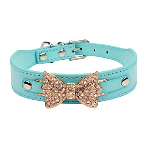 - AOLOVE Fashion Rhinestones Diamante Butterfly Bow Tie Adjustable Pu Leather Pet Collars for Cats Puppy Dogs (Medium, Blue-Gold)