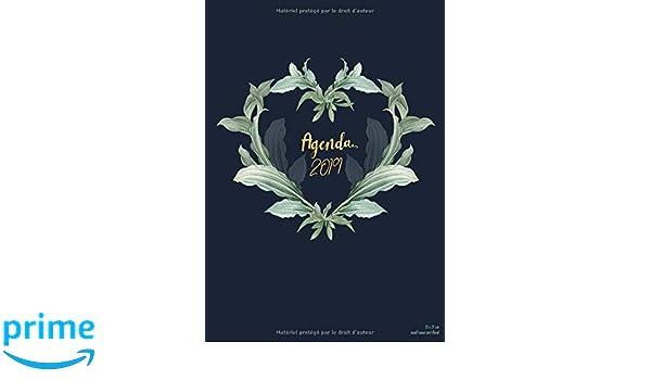 Agenda 2019 15x21 cm motif coeur vert floral: Agenda ...
