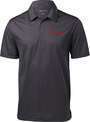 Dodge Demon SRT Logo Pocket Print Textured Polo Shirt, Iron Grey, ()