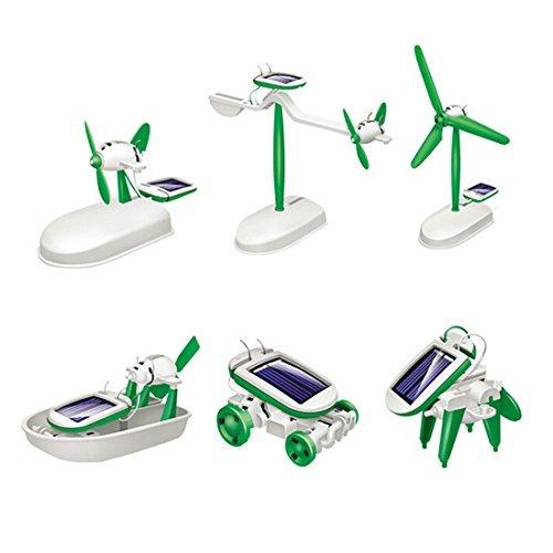 Mini Solar Robot (AngelaKerry Solar Robot Toy Kit Educational DIY 6 in 1 Power Children Learning Gift Creative Boat Mini(1pcs Solar Robot 6 in 1))