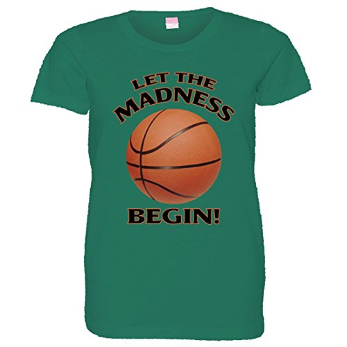 PleaseMeTees Women's Let The Madness Begin March Basketball NCAA Shirt - Soft-Style Fashion Tee Kelly (XXL)