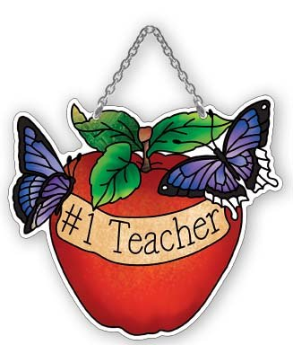 Apple #1 Teacher Stained Glass Suncatcher (SSB1033R) ()