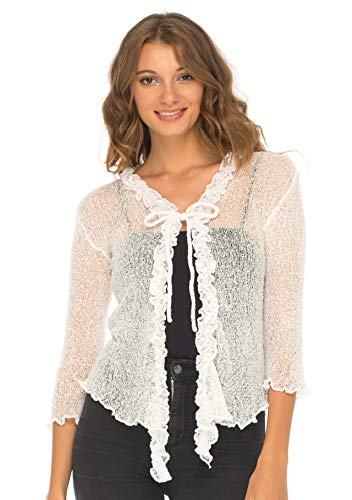 SHU-SHI Womens Sheer Shrug Cardigan Sweater Lightweight Knitted with Ruffle Solid Colors White