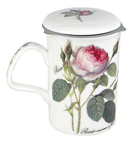 Roy Kirkham Redoute Rose Tea Mug with Infuser and Lid Bone China - Rose Garden Mug
