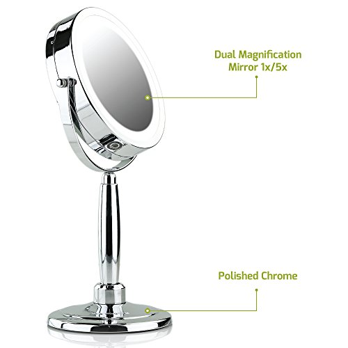 Ovente 3-in-1 Makeup Mirror (Tabletop, Wall-Mount, Handheld) with 3 SmartTouch Light Tones (Cool, Warm, Daylight), Cordless, 8.5 inch, 1x/5x Magnification, Polished Chrome (MFM85CH1X5X) by Ovente (Image #5)