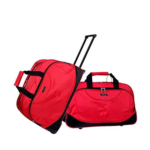 Luggage Bag Rolling Set,SIYUAN Waterproof Women Men Travel Duffel Weekender Bags Suitcase Red Medium ()
