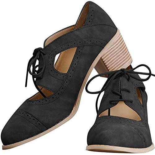 Athlefit Women's Cut Out Ankle Boots Breathable Vintage Oxford Block Heel Pumps Size 8 Black ()