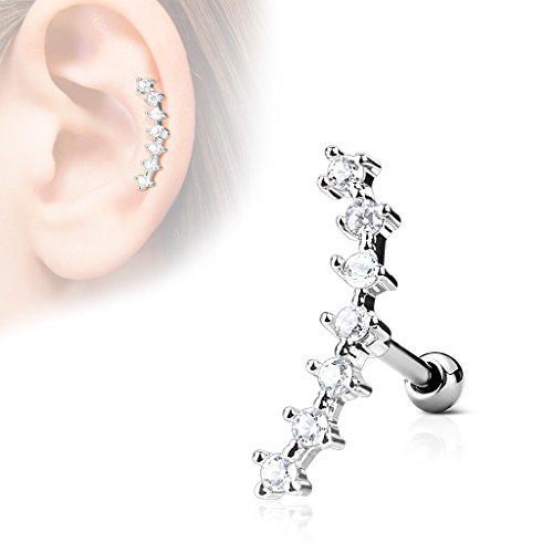 Pierced Owl Set of 4 Internally Threaded Prong Set CZ Crystal Stainless Steel Curved Eyebrow Rings