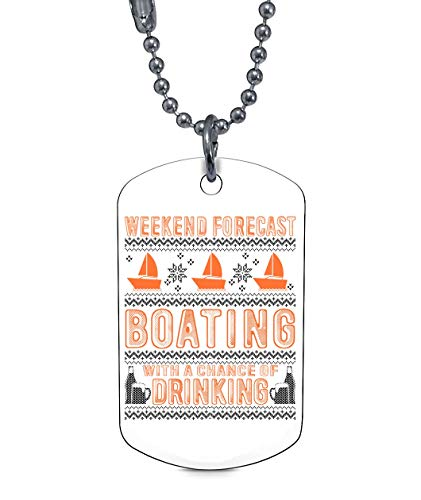 (CARONECK Being A Cruiser Necklaces, I Love Boating Dog Tag (Dog Tag Necklaces - White))
