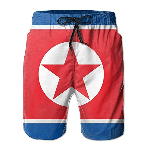 New Cartoon Fashion Flag of North Korea Summer Beach Pants Casual Shorts for Man