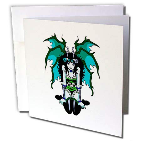 3dRose Russ Billington Designs - Gothic Vamp Girl Tattoo Style in Green and Blue - 1 Greeting Card with Envelope (gc_293774_5)