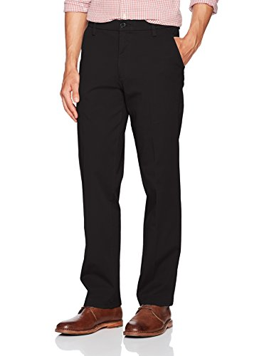 Cotton Khakis Stretch (Dockers Men's Straight Fit Workday Khaki Pants with Smart 360 Flex, Black (Stretch), 32W x 30L)