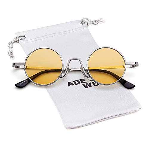 Vintage Mujeres con fino Amarillo Street de Redondo Hombres ovaladas de Style borde sol Gafas Eyewear Marco ADEWU Plata Lente 1 metal qw6Ip