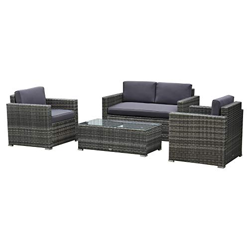 Outsunny 4 Pieces Outdoor Wicker Patio Sofa Set, Rattan Conversation Furniture Set with Cushions and Coffee Table, Grey